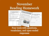 November Reading Homework and Test Preparation