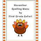 November Spelling Menu - 9 ways for students to learn thei