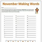 November Thanksgiving Making Words Spelling Activity