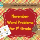 November Word Problems for 1st Grade