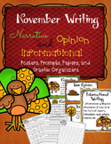 November Writing Prompts, Graphic Organizers, Papers, and Posters