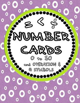 Number Cards 0 to 50 (with operation and other symbols)