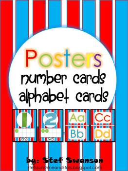 Number Cards and ABC Cards {Different FONTS}
