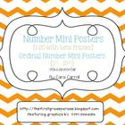 Number Mini Posters {1-20} & Ordinal Number Cards  With a