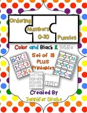 Number Order Puzzles 0-20  ~Color & B&W PLUS Printables~