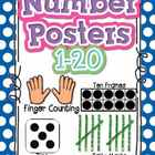 Number Poster 1-20 PRIMARY Polka Dot: tally, dice, ten fra
