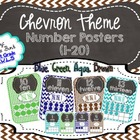 Number Posters 1-20 Chevron (Blue, Green, Brown, Aqua)