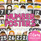 Number Posters Stick Kid Cuties Theme - Classroom Decor