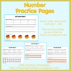 Number Practice Pages (Preschool)