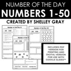 Number of the Day: 1 - 50  {Developing Number Sense}