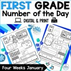 Number of the Day {Winter Wonderland} First Grade Math January