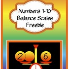 Numbers 1-10 Balance Scales Freebie