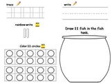 Numbers 11-20 practice - trace, write, fill in tens frame, draw