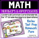Numbers and Operations - Math Question Strips  for 4th Grade