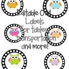 OWL LABELS for tables, transportation, lunch count and more!