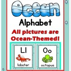 Ocean Theme Alphabet Posters A-Z with Primary Font & Ocean