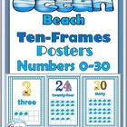 Ocean – Beach Themed Numbers 0-30 Posters with Ten-Frames
