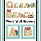 Ocean - Beach Word Wall Headers A-Z
