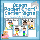 Ocean Print Pocket Chart Center Cards