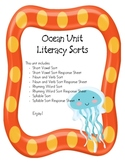 Ocean Unit Literacy Sorting Acitvities