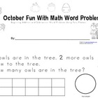 October Beginning Math Addition and Subtraction Word Probl
