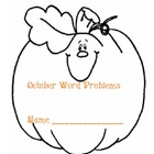 October Math Word Problems Shapebook