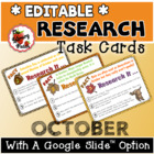 October Research Task Cards