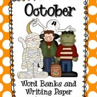 October Word Banks and Writing Paper