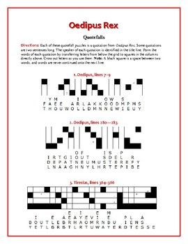 Oedipus Rex: 10 Quotefall Puzzles--A Great Spelling Workout!
