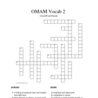 Of Mice and Men 2 Vocabulary Crossword Puzzle (Steinbeck)