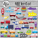 Off We Go Transportation Clipart Set