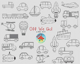 Off We Go Transportation Line Art Set