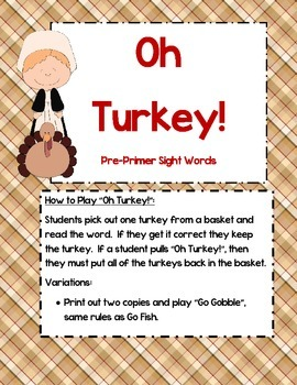 Oh Turkey! - Primer sight word game