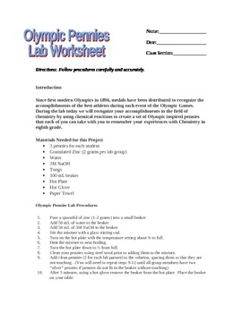 Olympic Pennies Lab Worksheet