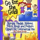 Go For the Gold! Clip Art Graphics: Medals, Ribbons, Torch