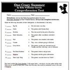 One Crazy Summer Comprehension Question Test and Answer Key