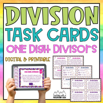 One Digit Divisor Division Task Cards { With & Without Remainders } Common Core