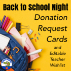 Open House Parent Donation Cards and Teacher Wish List