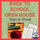 Beginning of the Year - Open House Sign in Sheet