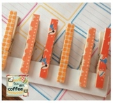 Shades of Orange Washi Clothespins {Set of 6}