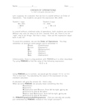Order of Operations Handout