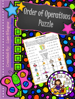 Order of Operation Puzzle Worksheet, Game, Fun Engaging Activity