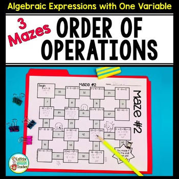 Order of Operations Mazes - No Exponents, Limited Division