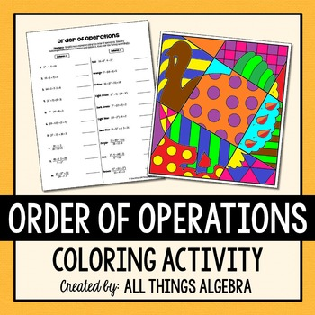 Order of Operations - Thanksgiving Turkey Coloring Activity