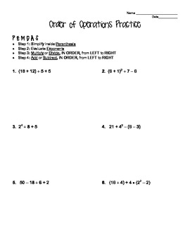 Printables Order Of Operations Algebra Worksheet order of operations practice worksheets woodleyshailene worksheet davezan