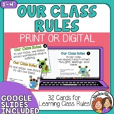 Class Rules Task Cards and Graphic Organizers