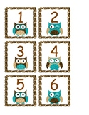 Owl Calendar Numbers - Blue and Brown