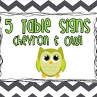 Owl & Chevron Table Display Signs