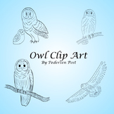 Owl Clip Art - Simple Black Line