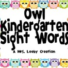 Owl Kindergarten Sight Words
